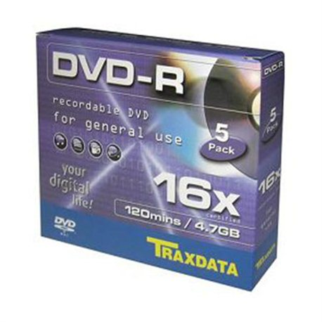DVD-R TRAXDATA, 4.7GB, 16X, box 5 kom
