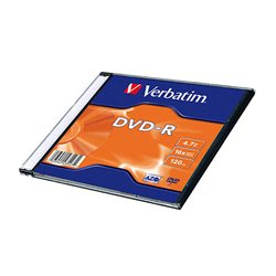 DVD-R, VERBATIM,4,7 GB,16X,MATT SILVER SLIM CASE