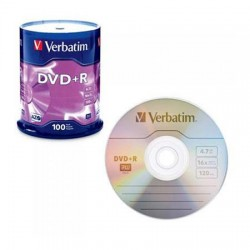 DVD-R, VERBATIM,4,7 GB,16X, spindle 100 kom,MATT SILVER