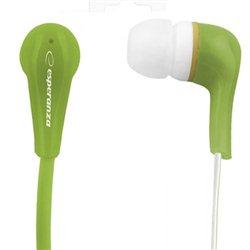 Slušalice ESPERANZA LOLLIPOP In-Ear, Noise dampening + Amplified BASS, green, EH146G
