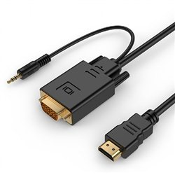 HDMI adapter kabal GEMBIRD A-HDMI-VGA-03-6 HDMI to VGA, 1,8m, adapter + audio