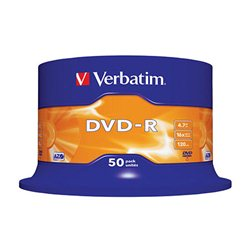 DVD-R, VERBATIM,4,7 GB,16X, spindle 50 kom,MATT SILVER