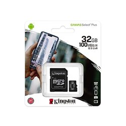 Micro SD card Kingston 32 GB SDHC  SDCS2/32GB  Class10 Canvas Select Plus SD adapter100MBs Read,Class 10 UHS-I
